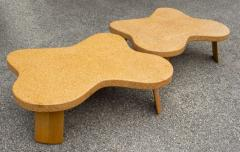 Paul Frankl Paul Frankl Cloud Coffee Tables in Natural Cork and Bleached Mahogany Pair 1951 - 2077373