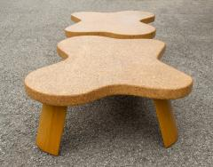 Paul Frankl Paul Frankl Cloud Coffee Tables in Natural Cork and Bleached Mahogany Pair 1951 - 2077374