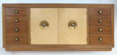 Paul Frankl Paul Frankl for Johnson Furniture Mahogany Cork and Hammered Brass Sideboard - 535607