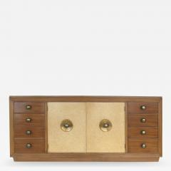 Paul Frankl Paul Frankl for Johnson Furniture Mahogany Cork and Hammered Brass Sideboard - 536659