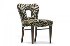 Paul Frankl Set of 8 Paul Frankl Dining Chairs in Zebra Cut Velvet with Gold Brocade c 1950 - 2101307