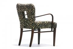 Paul Frankl Set of 8 Paul Frankl Dining Chairs in Zebra Cut Velvet with Gold Brocade c 1950 - 2101308
