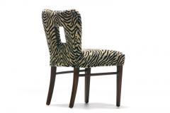Paul Frankl Set of 8 Paul Frankl Dining Chairs in Zebra Cut Velvet with Gold Brocade c 1950 - 2101310