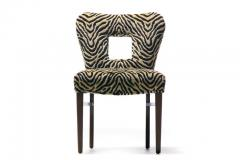 Paul Frankl Set of 8 Paul Frankl Dining Chairs in Zebra Cut Velvet with Gold Brocade c 1950 - 2101311