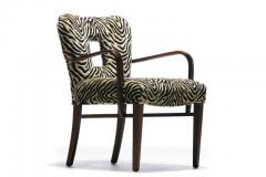 Paul Frankl Set of 8 Paul Frankl Dining Chairs in Zebra Cut Velvet with Gold Brocade c 1950 - 2101312