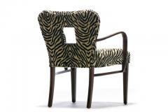 Paul Frankl Set of 8 Paul Frankl Dining Chairs in Zebra Cut Velvet with Gold Brocade c 1950 - 2101313