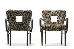 Paul Frankl Set of 8 Paul Frankl Dining Chairs in Zebra Cut Velvet with Gold Brocade c 1950 - 2101314