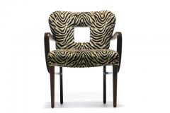 Paul Frankl Set of 8 Paul Frankl Dining Chairs in Zebra Cut Velvet with Gold Brocade c 1950 - 2101315