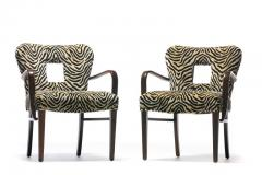 Paul Frankl Set of 8 Paul Frankl Dining Chairs in Zebra Cut Velvet with Gold Brocade c 1950 - 2101316