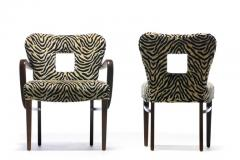 Paul Frankl Set of 8 Paul Frankl Dining Chairs in Zebra Cut Velvet with Gold Brocade c 1950 - 2101322