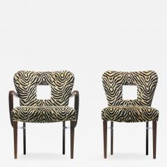 Paul Frankl Set of 8 Paul Frankl Dining Chairs in Zebra Cut Velvet with Gold Brocade c 1950 - 2106073