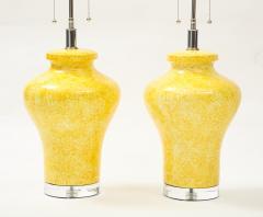 Paul Hanson Pair of Paul Hanson Canary Yellow Lamps - 1924105