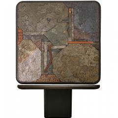 Paul Kingma Trio of Kingma Kneip Bronze and Slate Tables Netherlands 1960s - 1015289