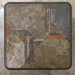 Paul Kingma Trio of Kingma Kneip Bronze and Slate Tables Netherlands 1960s - 1015313