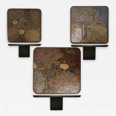 Paul Kingma Trio of Kingma Kneip Bronze and Slate Tables Netherlands 1960s - 1015510