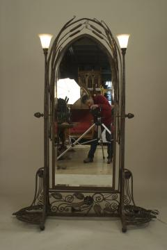 Paul Kiss French Art Deco Wrought Iron Cheval Mirror - 470928