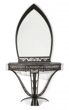Paul Kiss Important Paul Kiss Wrought Iron Marble Console with Mirror c 1925 - 937750