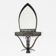 Paul Kiss Important Paul Kiss Wrought Iron Marble Console with Mirror c 1925 - 938392