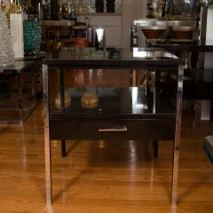 Paul McCobb Pair of Lacquered Wood Tables with Chrome Details by Paul McCobb - 381335