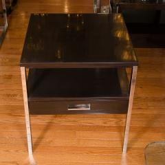 Paul McCobb Pair of Lacquered Wood Tables with Chrome Details by Paul McCobb - 381337