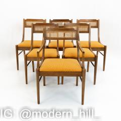 Paul McCobb Style Walnut and Cane Dining Chairs Set of 6 - 1870045