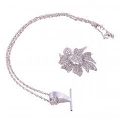 Pave Diamond Pin with Pendant Enhancer on Chain - 2147131