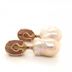Peach Moonstone Baroque Pearls and Brown Diamonds on Yellow Gold Earrings - 1158821
