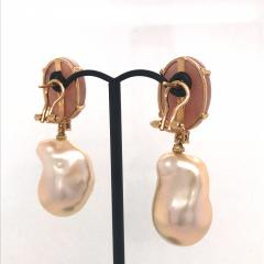 Peach Moonstone Baroque Pearls and Brown Diamonds on Yellow Gold Earrings - 1158823