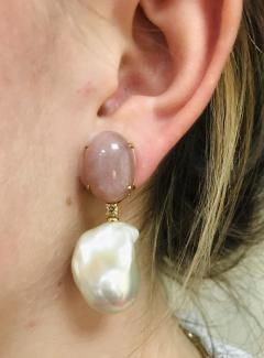 Peach Moonstone Baroque Pearls and Brown Diamonds on Yellow Gold Earrings - 1158851