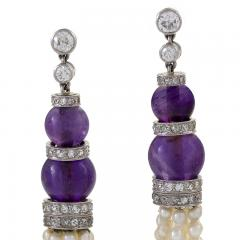 Pearl and Amethyst Diamond Accented Earrings - 1041907