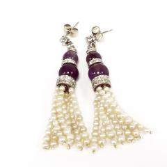 Pearl and Amethyst Diamond Accented Earrings - 1041908