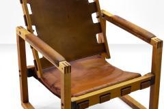 Pedersen Hansen Safari Chair by Peder Hansen in Eucalyptus Wood and Cognac Leather New Zealand - 980575
