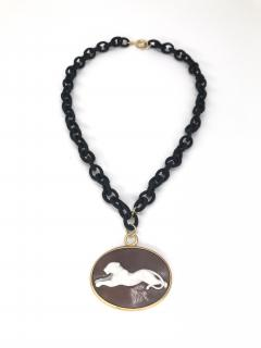 Pendent Panther Cam o Oval Necklace with Yellow Gold and Black Satin - 1199948