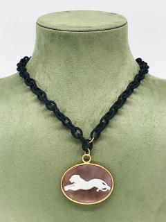 Pendent Panther Cam o Oval Necklace with Yellow Gold and Black Satin - 1199966