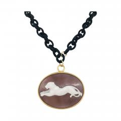 Pendent Panther Cam o Oval Necklace with Yellow Gold and Black Satin - 1200941