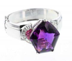 Pentagonal Amethyst with Rubies and Diamonds Cuff Bracelet Palladium - 1855322