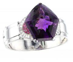 Pentagonal Amethyst with Rubies and Diamonds Cuff Bracelet Palladium - 1855327