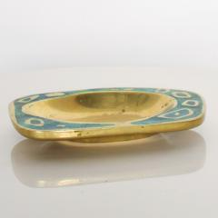 Pepe Mendoza 1958 Pepe Mendoza Spectacular Turquoise and Brass Gold Dish Midcentury Modernism - 1563706