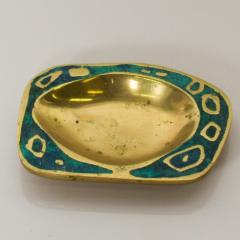 Pepe Mendoza 1958 Pepe Mendoza Spectacular Turquoise and Brass Gold Dish Midcentury Modernism - 1563707