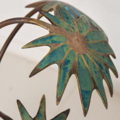 Pepe Mendoza Exquisite Pepe Mendoza PALM Tree Table Lamp in Bronze Malachite 1950s MEXICO - 1536691
