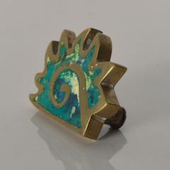 Pepe Mendoza PEPE Mendoza PULL Handle Maya Codex Bronze Turquoise Inlay 1958 Mexico - 1524239