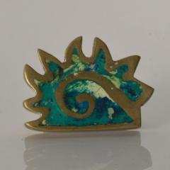 Pepe Mendoza PEPE Mendoza PULL Handle Maya Codex Bronze Turquoise Inlay 1958 Mexico - 1524240