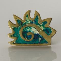 Pepe Mendoza PEPE Mendoza PULL Handle Maya Codex Bronze Turquoise Inlay 1958 Mexico - 1524243