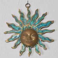 Pepe Mendoza PEPE Mendoza Wall Plaque Sun God Sculpture in Bronze Turquoise Mexico 1958 - 1526304