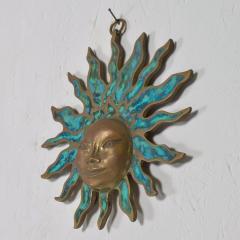 Pepe Mendoza PEPE Mendoza Wall Plaque Sun God Sculpture in Bronze Turquoise Mexico 1958 - 1526305