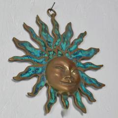 Pepe Mendoza PEPE Mendoza Wall Plaque Sun God Sculpture in Bronze Turquoise Mexico 1958 - 1526306
