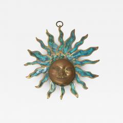 Pepe Mendoza PEPE Mendoza Wall Plaque Sun God Sculpture in Bronze Turquoise Mexico 1958 - 1526884