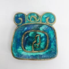 Pepe Mendoza Pepe Mendoza Brass Malachite Decorative Dish ASHTRAY 1958 Mexico - 2034275