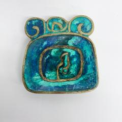 Pepe Mendoza Pepe Mendoza Brass Malachite Decorative Dish ASHTRAY 1958 Mexico - 2034276