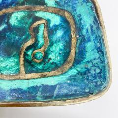 Pepe Mendoza Pepe Mendoza Brass Malachite Decorative Dish ASHTRAY 1958 Mexico - 2034278